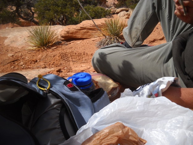 Lunch, almost finished, Chesler Park, The Needles, Canyonlands, March 3, 2013