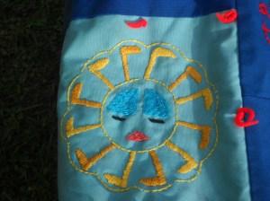 quilt detail: sun figure
