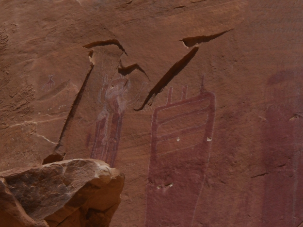 bullet holes in pictographs, Southern Utah