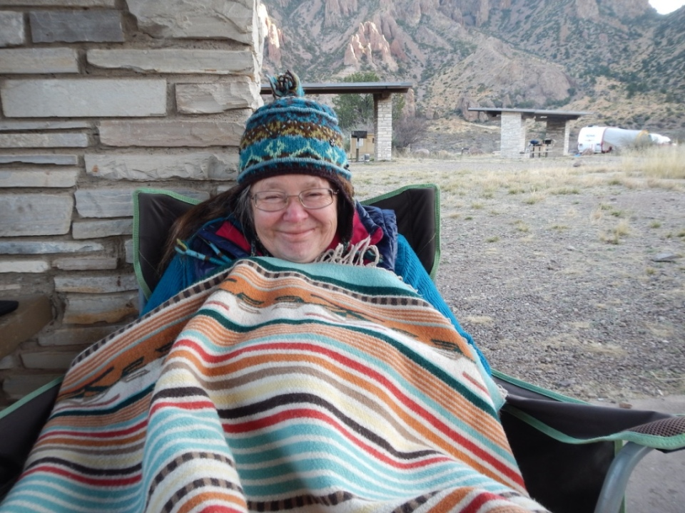 keeping warm in Chisos Basin