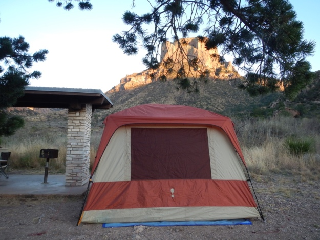 our tent, Chisos Basin Campground, not yet airborne